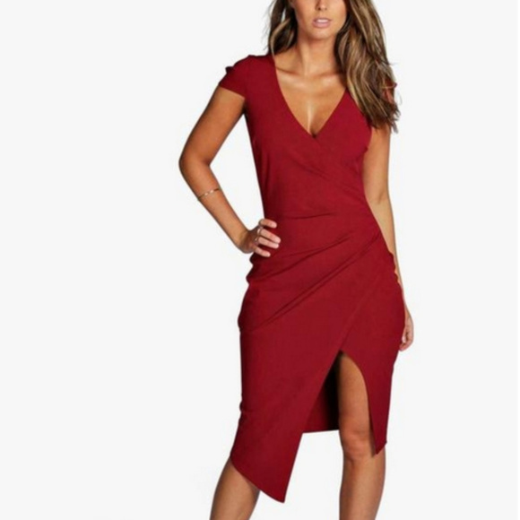 66af977c62756 Boohoo Dresses & Skirts - Boohoo Meg Cap Sleeve Wrap Midi Slit Dress